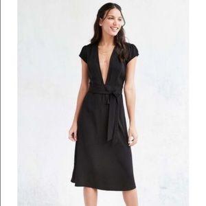 NWOT UO Kimchi Blue Deep V-Neck Black Midi Dress